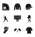 baseball goods icons set simple style vector image vector image