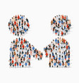 big group people in form handshake symbol vector image vector image