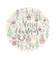 christmas circle card vector image vector image