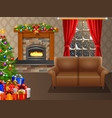 christmas trees and gifts in the living room vector image