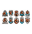 collection colorful logos stickers emblems of vector image vector image