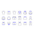 colored line clothing icons vector image