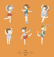 Colorful set of handdrawn dancing girls Cute and vector image