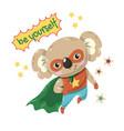 cute little koala flying super hero with green vector image