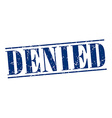 denied blue grunge vintage stamp isolated on white vector image vector image