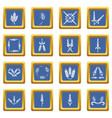 ear corn icons set blue square vector image
