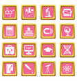 education icons pink vector image vector image