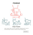 Fondue Set icons vector image vector image