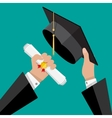 Graduation hat and diploma in hands of student vector image
