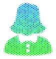 halftone blue-green woman icon vector image vector image