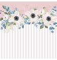 horizontal striped pattern with white anemones vector image vector image