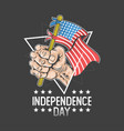 independence day hand holding united states flag vector image vector image