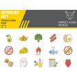 keto diet color line icon set ketogenic symbols vector image vector image