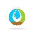Letter O with liquid water drop logo Sky nature vector image vector image