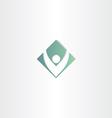 letter v man green square symbol vector image vector image