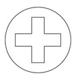 line art black and white medical cross symbol vector image