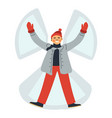 man lying in snow making angel isolated male vector image