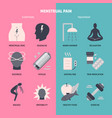 menstrual pain symptoms and treatment icon set in vector image