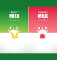 milk splash with fresh banana and raspberry vector image vector image