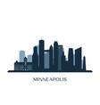minneapolis skyline monochrome silhouette vector image vector image