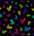 pattern randomly scattered colorful love words vector image vector image
