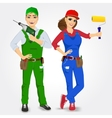 portrait of handyman and handywoman vector image