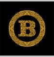 premium elegant capital letter b in a round frame vector image vector image