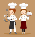 Professional Chefs With Foods In Hands vector image
