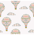 Seamless pattern with hot air balloon and clouds