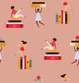 seamless pattern with young women and piles vector image