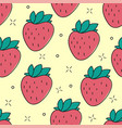 seamless strawberry hand drawn pattern vector image vector image