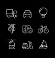 set line icons transport vector image