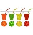 Set of doodle glasses of citrus juice vector image
