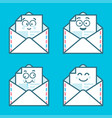 set of emoji messages in letters concept of happy vector image vector image