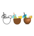 set of pina colada icons vector image vector image