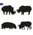 Set of silhouettes of large mammals vector image vector image