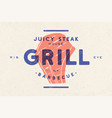 steak logo meat label logo with steak vector image vector image