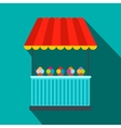 Tent with ice cream flat icon vector image