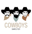 three cowboys with hat and neckerchief symbolic vector image vector image