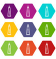 toothpaste in tube icon set color hexahedron vector image vector image