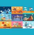urban and rural landscape in different seasons set vector image vector image