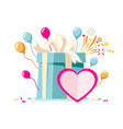 valentines gift card vector image vector image
