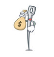 with money bag needle character cartoon style vector image vector image