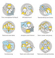 linear teamwork icons set vector image