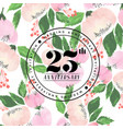 25 wedding anniversay invitation watercolor vector image vector image