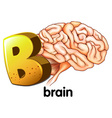 A letter B for brain vector image vector image