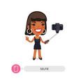 african american cartoon selfie girl vector image vector image