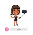 african american cartoon selfie girl with vector image