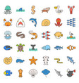 aquatic ocean life filled outline icon set vector image vector image