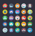 buildings flat icons pack vector image vector image